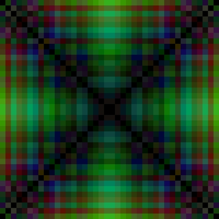 distinctive: Abstract greenish pixellated pattern with distinctive saltire element