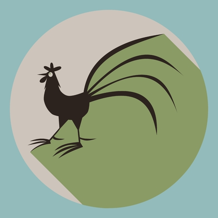 subdued: Rooster silhouette on round button with long shadow in subdued colors.