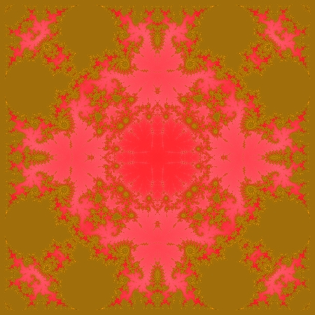 attenuated: Gold red fractal decorative tileable pattern  digitally rendered design