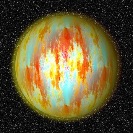whitish: Big yellow orange blue whitish planet flying through cosmos  digitally rendered design