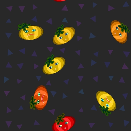 sidebar: Yellow, orange and red cartoon stylized pumpkins on gray background with purple blue triangles pattern. Stock Photo