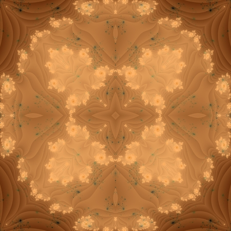 mirroring: Abstract monochromatic brown ornamental fractal seamless pattern. Decorative mirroring shapes like flower perianth leaves or butterfly wings. Designed in retro style.