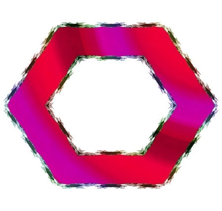 tonality: Abstract hexagonal border in red shades with black fractal trim and clear space in middle. Stock Photo