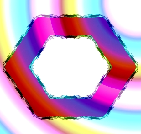 hem: Colorful red blue pink orange hexagonal frame with fractal hem on soft fine yellow turquoise pink background. Middle clear white space for your content. Stock Photo