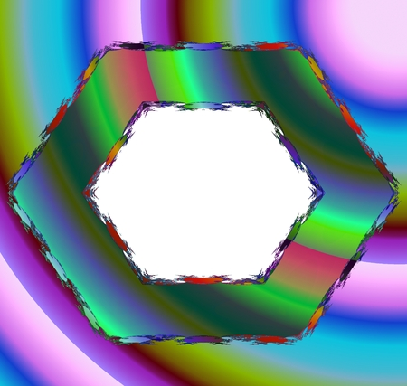 opalescent: Iridescent opalescent hexagonal border with clear space in middle - digitally rendered pattern Stock Photo