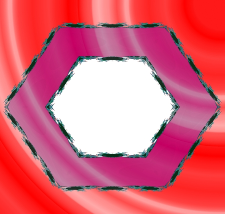 tonality: Pink hexagonal border with black fractal trim on red background - abstract digitally rendered pattern with copyspace