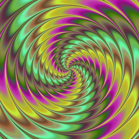 centralized: Faded yellow green purple brown decorative swirl with movement illusion