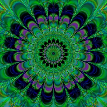rendered: Decorative green blue purple symmetrical flower background - digitally rendered design