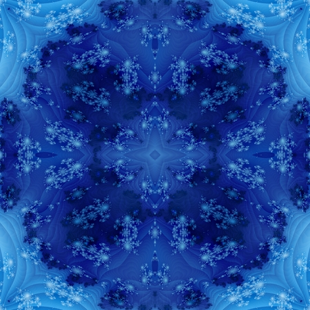 mirroring: Abstract blue fractal seamless regular mirroring floral monochromatic background