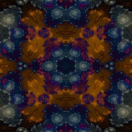 Abstract decorative shiny blue brown fractal fantasy pattern - digitally rendered graphic