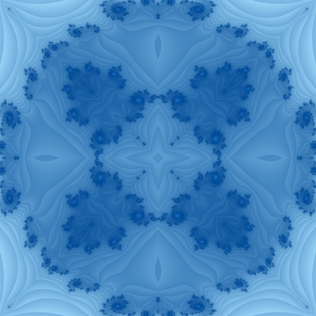 Blue ornamental centralized fractal tileable pattern with decorative spirals.