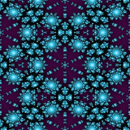 Regular shiny rosebud turquoise purple background in victorian shape style - digitally rendered fractal pattern Stock Photo