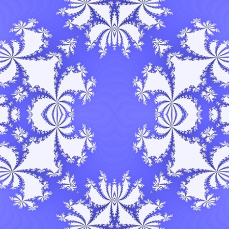 tonality: Abstract floral blue white decorative seamless fractal pattern - digitally rendered raster illustration