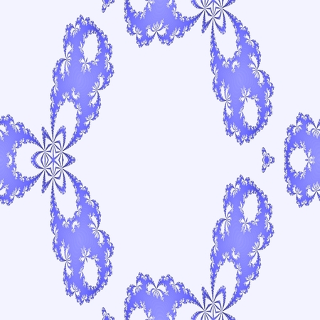 Abstract seamless decorative blue fractal mosaic with flowers shapes