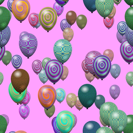 nuance: Party air balloons abstract decorated. In subtle colors - mint, caramel and lilac. Digitally rendered seamless pattern. Stock Photo