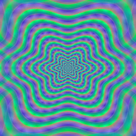 rendered: Psychedelic blue green purple pattern - digitally rendered design Stock Photo