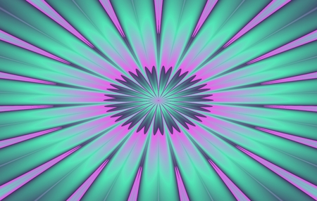 introspective: Psychedelic fractal regular pink turquoise flower background - usable as business card for spiritual therapist and the like Stock Photo