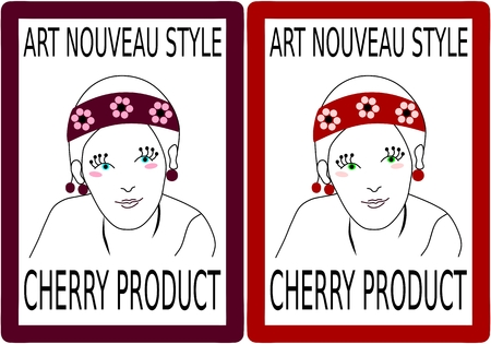 art product: label to a product of cherry fruit with girlish head in art nouveau style