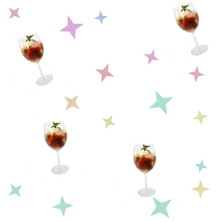 photomanipulation: Soft fine seamless pattern with fruit drink in wineglass
