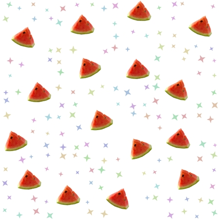 photomanipulation: Seamless fresh summer background with watermelon pieces