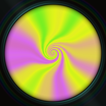 transcendental: Yellow, pink and green smooth helically curved pattern in dark round notch. Digitally rendered design,