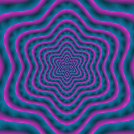 rendered: Psychedelic blue purple star shape - digitally rendered design Stock Photo
