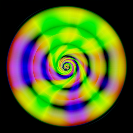 meditation help: Abstract shining yellow green purple disc on black background