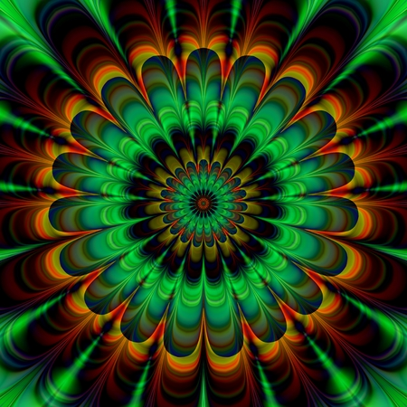 green brown: Decorative fractal abstract stylized flower in verdigris colors - digitally rendered pattern.