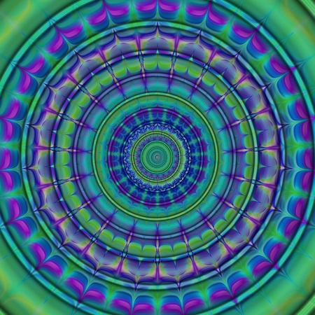 transcendental: Circular decorative blue purple green flower - abstract digital background