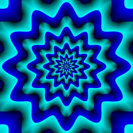 pulsating: Twelve pointed blue turquoise pulsating star - digitally rendered pattern