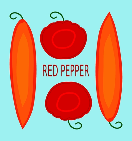 red pepper: Stylized red pepper isolated on blue usable as icon or banner Illustration
