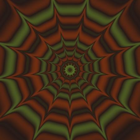 cartwheel: Green brown fantasy cartwheel mandala
