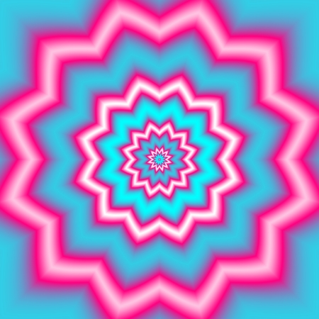flashy: Abstract floral or star pattern in flashy pink blue colors in pop art style