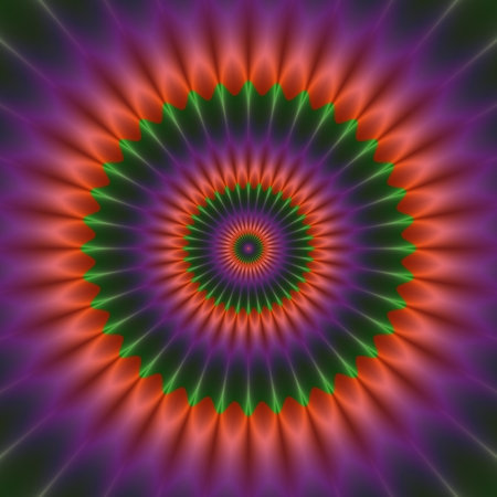 Abstract glowing purple orange green flower shape pattern with psychedelic illusion Stock Photo