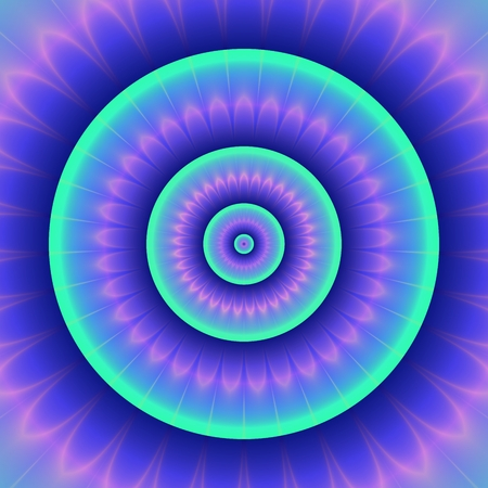rounds: Abstract fantasy glowing turquoise blue pink purple concentric rounds shape with petals like a big flower