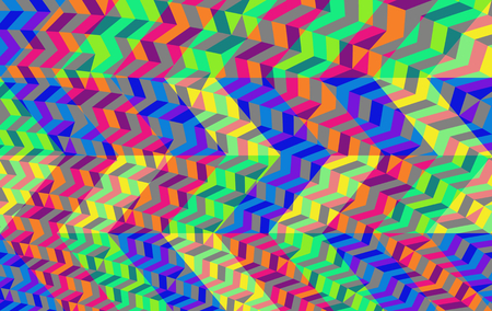 op: Abstract blue green red yellow geometric low poly background in op art style