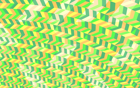op: Abstract green orange yellow white geometric low poly background in op art style Stock Photo