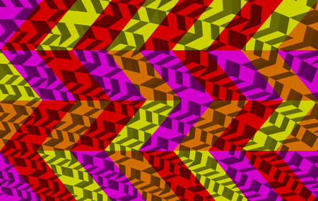 op: Abstract red purple orange yellow gray geometric low poly background in op art style Stock Photo
