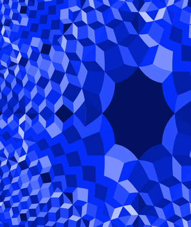tonality: Abstract blue monochrome fractal traced low poly background in op art style