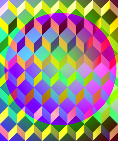 opalescent: Opalescent retro geometric background with space illusion effect and blend in op art style