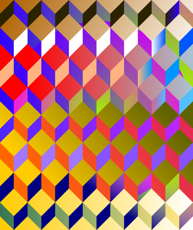 Abstract gradient colorful pattern in op art or cubist retro revival style