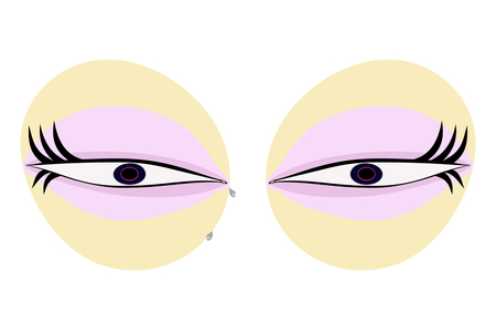 asexual: Cute puffy eyes with beautiful eye bags - vector illustration Usable as icon or design element