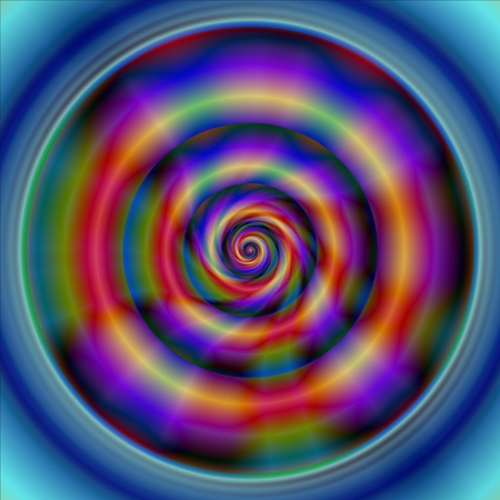 psychologists: Smooth oily Slimy round concentric purple blue red green pattern Stock Photo