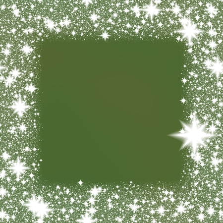 adding: Border from white snowflakes on a green background with space for adding your content. Stock Photo