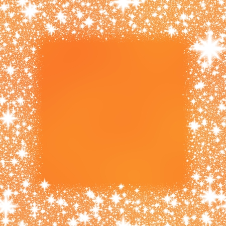 hoarfrost: Trim from white stars on a orange background with space for adding your content. Stock Photo
