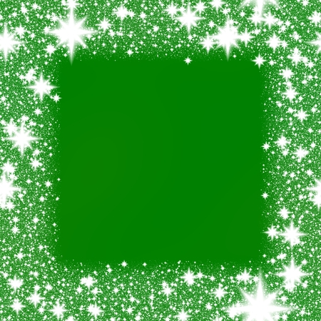 star border: Frame from white snowflakes on a green background with space for adding your content.