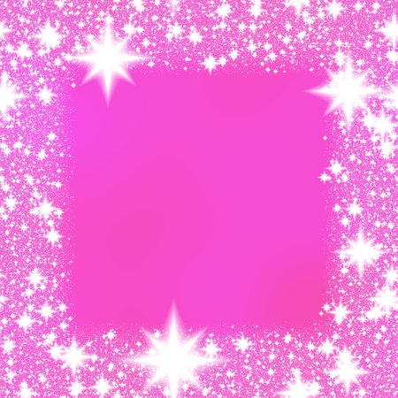 Frame from white stars on a pink background with space for adding your content. Stock Photo - 44907004