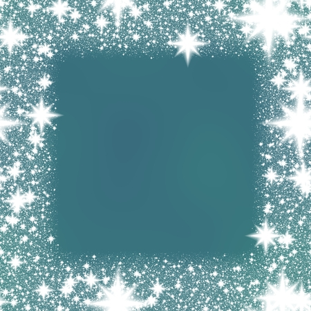 smoky: Decorative white sparks trim on smoky blue background Stock Photo