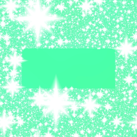 rendered: Digitally rendered stylized monochromatic border of white stars or snowflakes on turquoise-green background