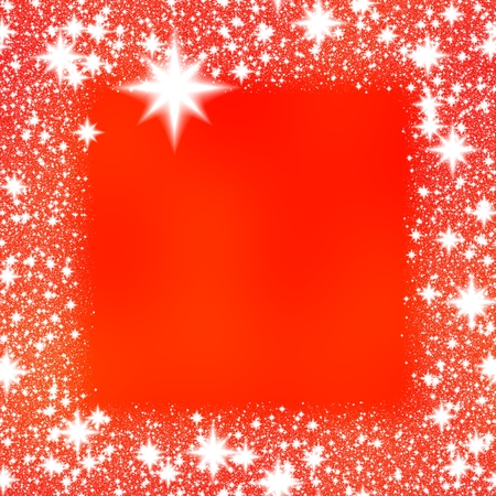 hoarfrost: Border from white snowflakes on a red background with space for adding your content. Stock Photo